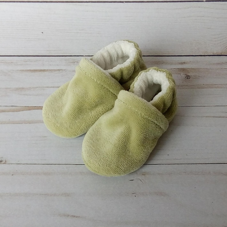 Sage Green : Handmade Baby Shoes Soft Sole Cotton Knit Fabric image 0