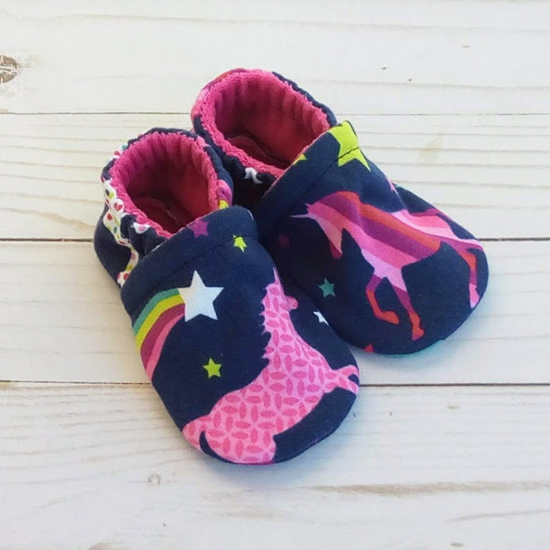 Bright Unicorns: Handmade Soft Sole Shoes Cotton Knit Fabric image 0