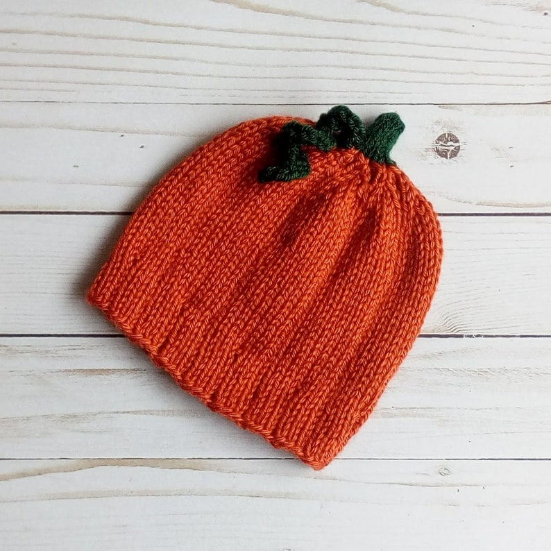 Pumpkin Hat Hand Knitted Fall Autumn Baby Beanie Free Shipping image 0