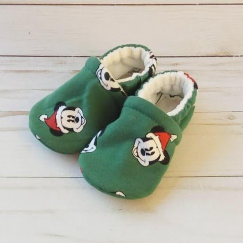 Micky Mouse Santa: Custom Handmade Baby Toddler Kid Shoes image 0