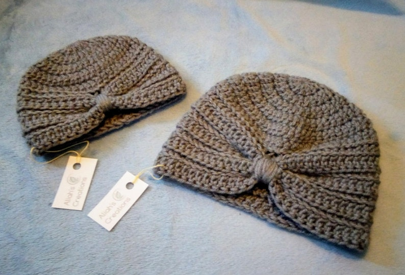 Grey Crocheted Turban Baby Hat image 0