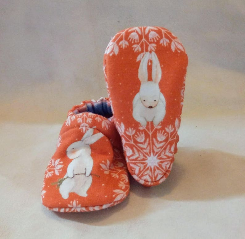 Snowflake Bunny: Handmade Baby Shoes Soft Sole Cotton Knit image 0