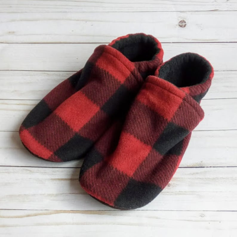 Adult Red Buffalo Plaid Slippers Non-Slip Fleece House Shoes image 0