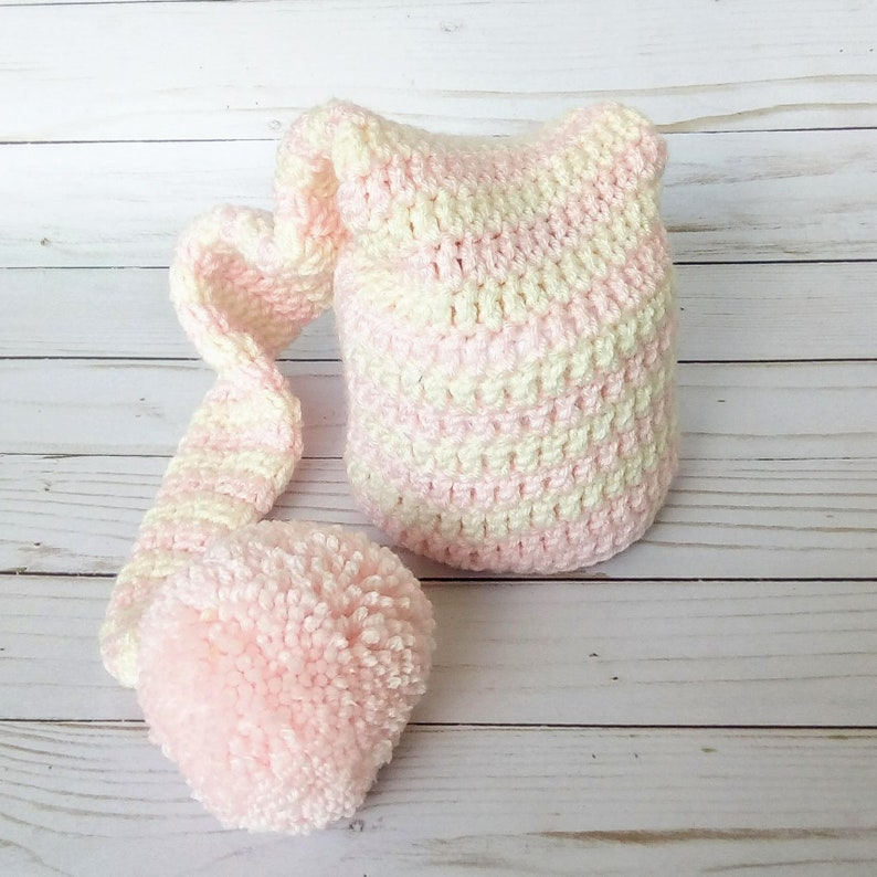 Pink and Cream Striped Elf Hat With Pom Pom Crocheted Newborn image 0