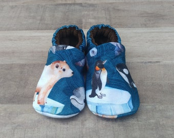 Arctic Animals: Handmade Soft Sole Shoes Cotton Knit Fabric Non-Slip Booties Baby Toddler Child Adult