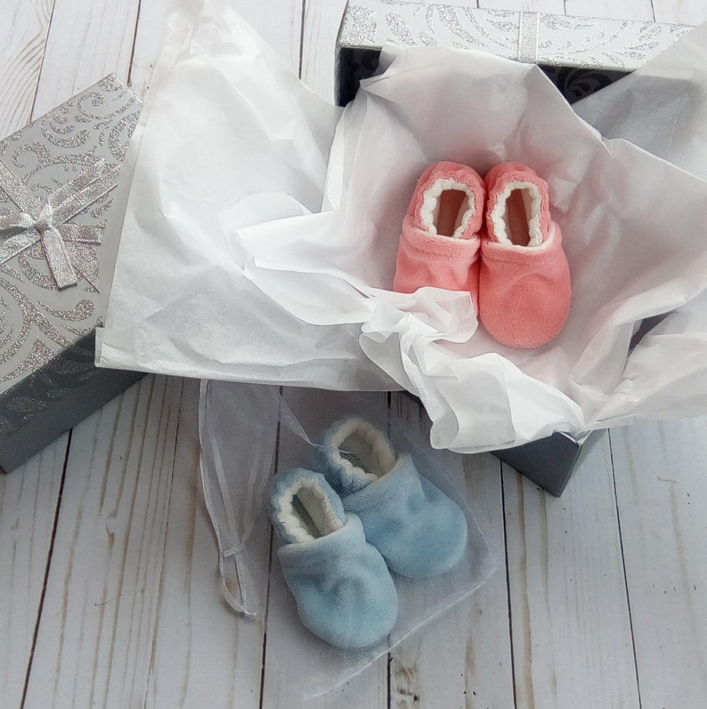 Gender Reveal Party Baby Shoes Box Handmade Cotton Velour image 0