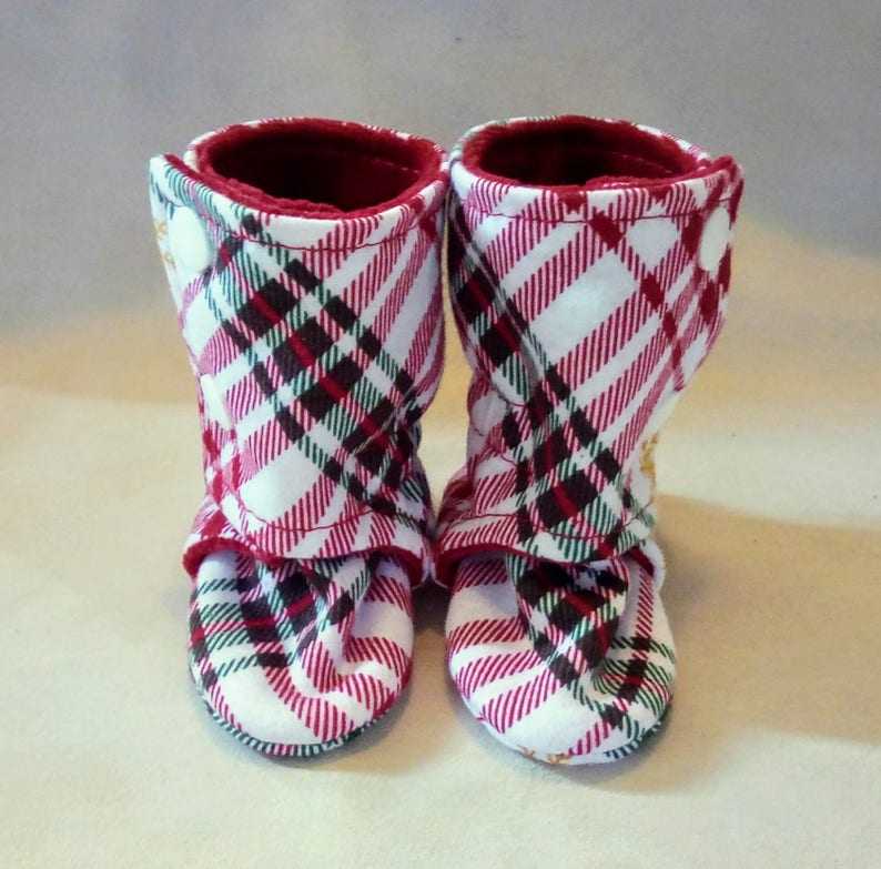 0-3M Plaid: Handmade Baby Shoes Soft Sole Cotton Knit Fabric image 0