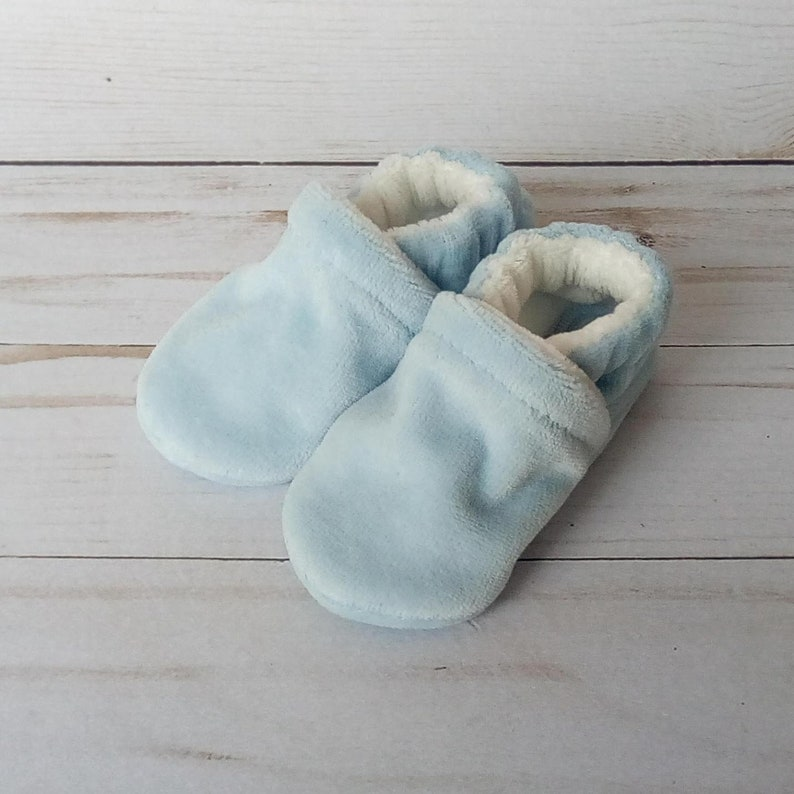 Light Blue : Handmade Baby Shoes Soft Sole Cotton Knit Fabric image 0