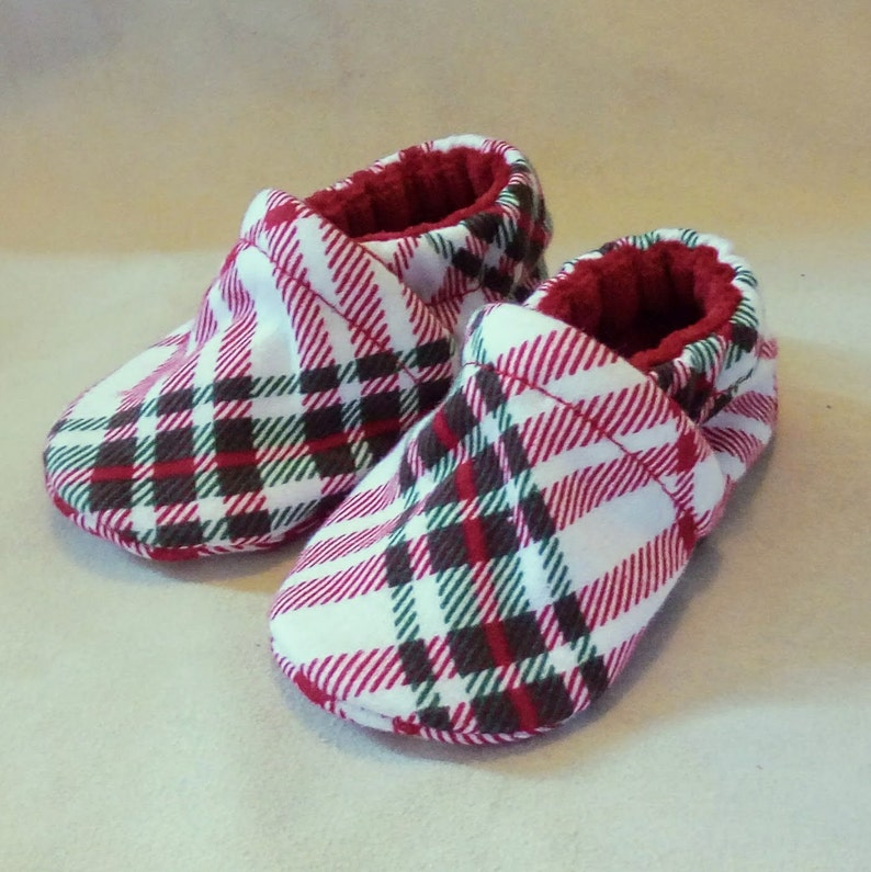 Plaid: Handmade Baby Shoes Soft Sole Cotton Knit Fabric image 0