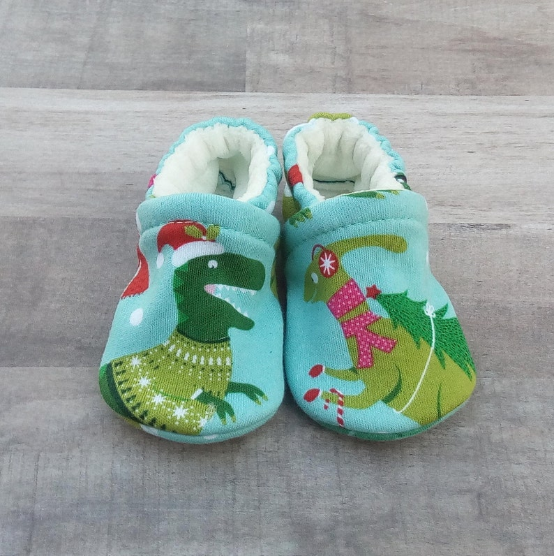 Holiday Dinosaurs: Handmade Soft Sole Shoes Cotton Knit Fabric image 0