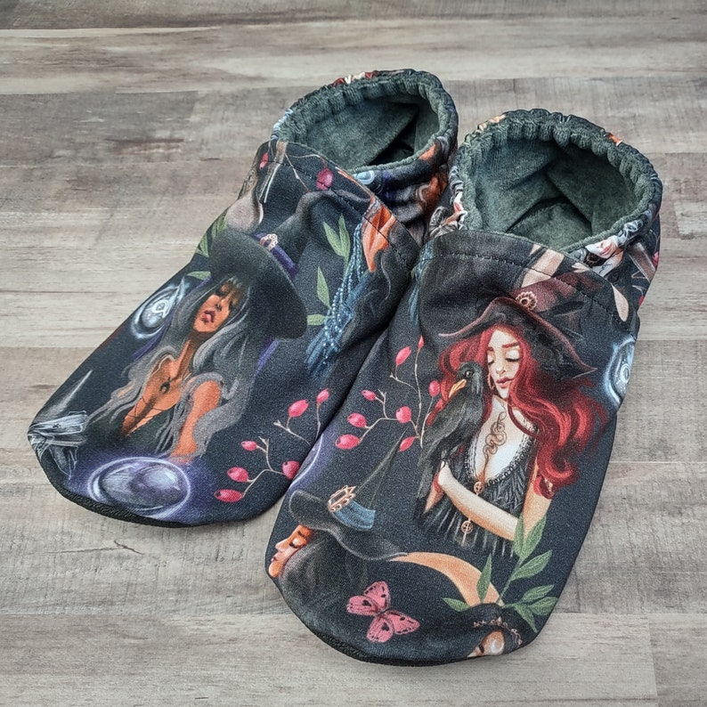 Coven Witches : Handmade Soft Sole Shoes Cotton Knit Fabric image 0