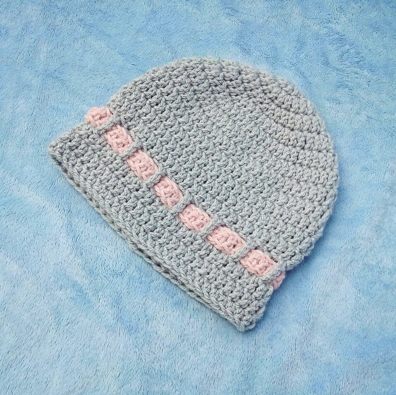 Grey and Pink Crocheted Baby Hat 6-12M image 0