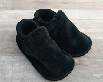 Solid Black : Handmade Soft Sole Shoes Cotton Knit Fabric Non-Slip Booties Baby Toddler Child Adult