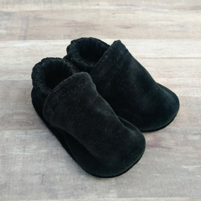 Solid Black : Handmade Soft Sole Shoes Cotton Knit Fabric image 0