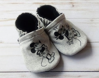 Mickey Mouse: Handmade Soft Sole Shoes Cotton Knit Fabric Non-Slip Booties Baby Toddler Child Adult