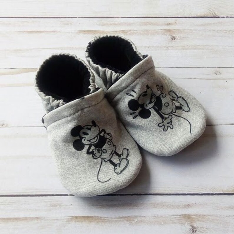Mickey Mouse: Handmade Soft Sole Shoes Cotton Knit Fabric image 0