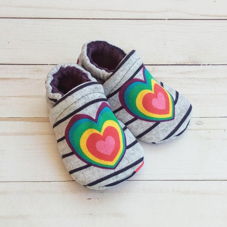 Rainbow Heart: Handmade Soft Sole Shoes Cotton Knit Fabric image 0