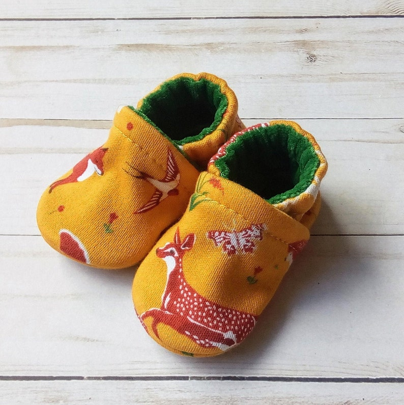 Forest Animals: Handmade Soft Sole Shoes Cotton Knit Fabric image 0