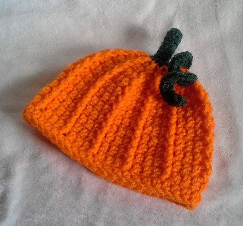 Crocheted Pumpkin Baby Hat  3-6M image 0