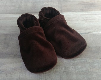Chocolate Brown : Handmade Soft Sole Shoes Cotton Knit Fabric Non-Slip Booties Baby Toddler Child Adult