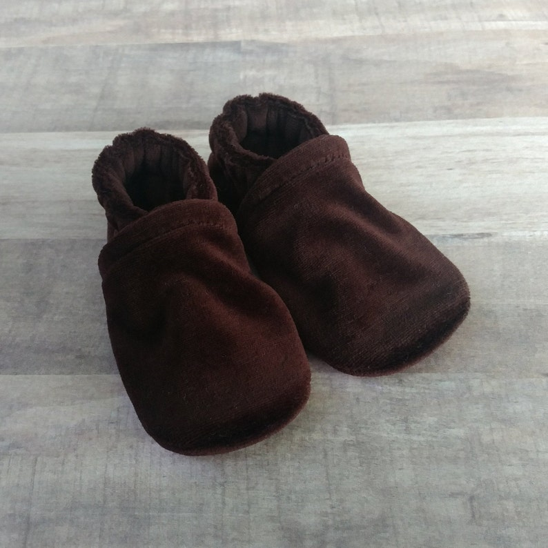 Chocolate Brown : Handmade Soft Sole Shoes Cotton Knit Fabric image 0