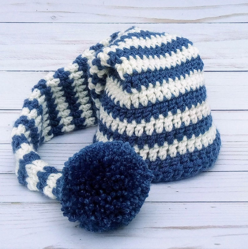 Blue and Cream Striped Elf Hat With Pom Pom Crocheted Newborn image 0
