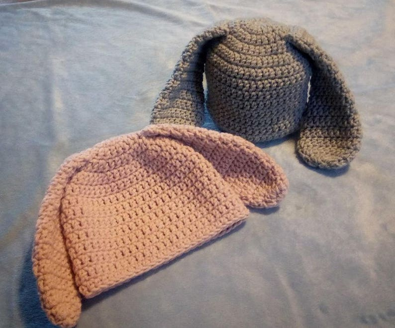 Pink Bunny Ear Baby Hat Crocheted Beanie image 0