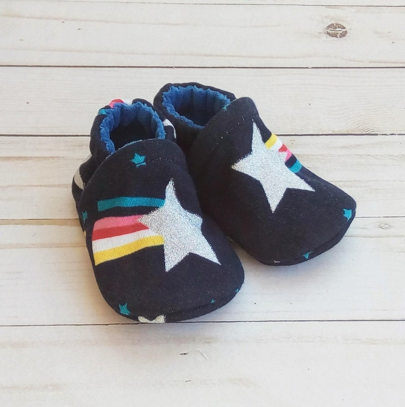 Shooting Star: Handmade Soft Sole Shoes Cotton Knit Fabric image 0