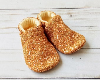Shiny! Faux Gold Glitter: Handmade Soft Sole Shoes Cotton Knit Fabric Non-Slip Booties Baby Toddler Child Adult