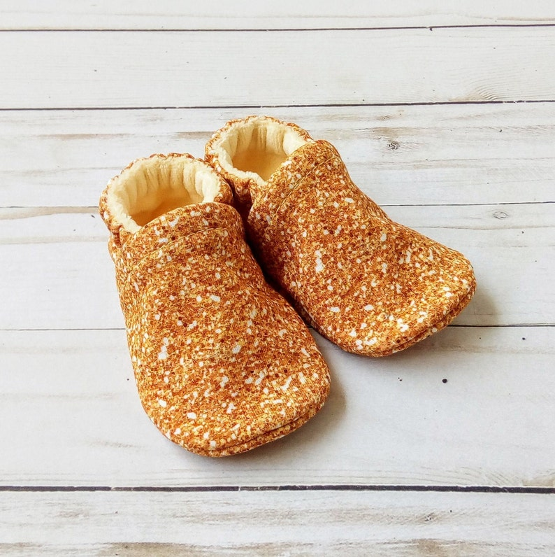 Shiny Gold Glitter: Handmade Soft Sole Shoes Cotton Knit image 0