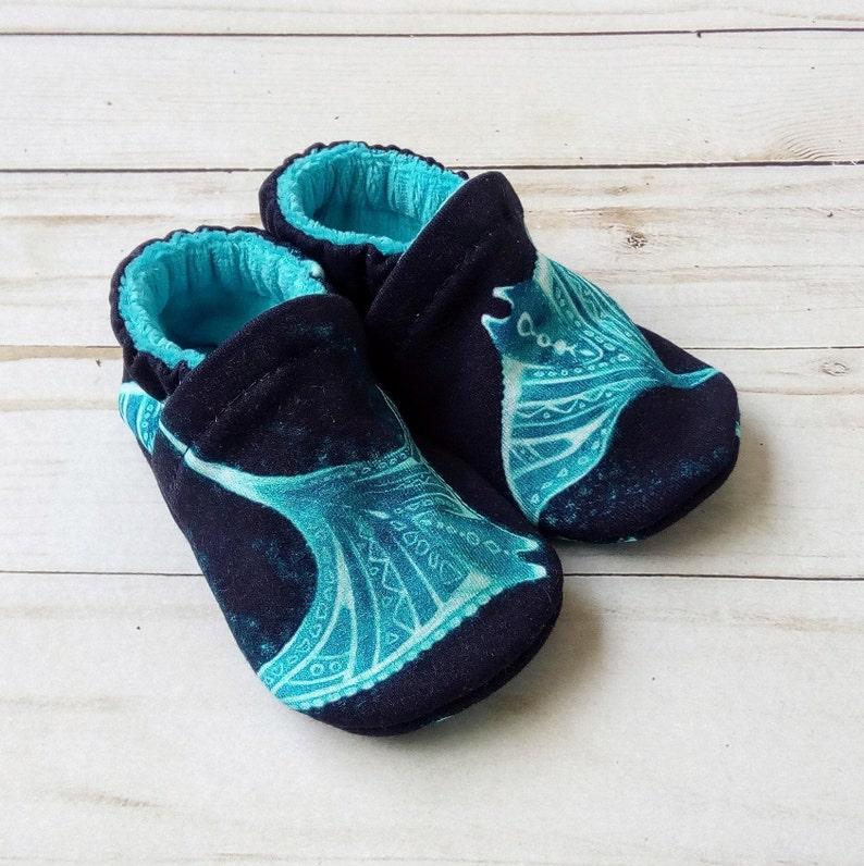 Manta Rays: Handmade Soft Sole Shoes Cotton Knit Fabric image 0