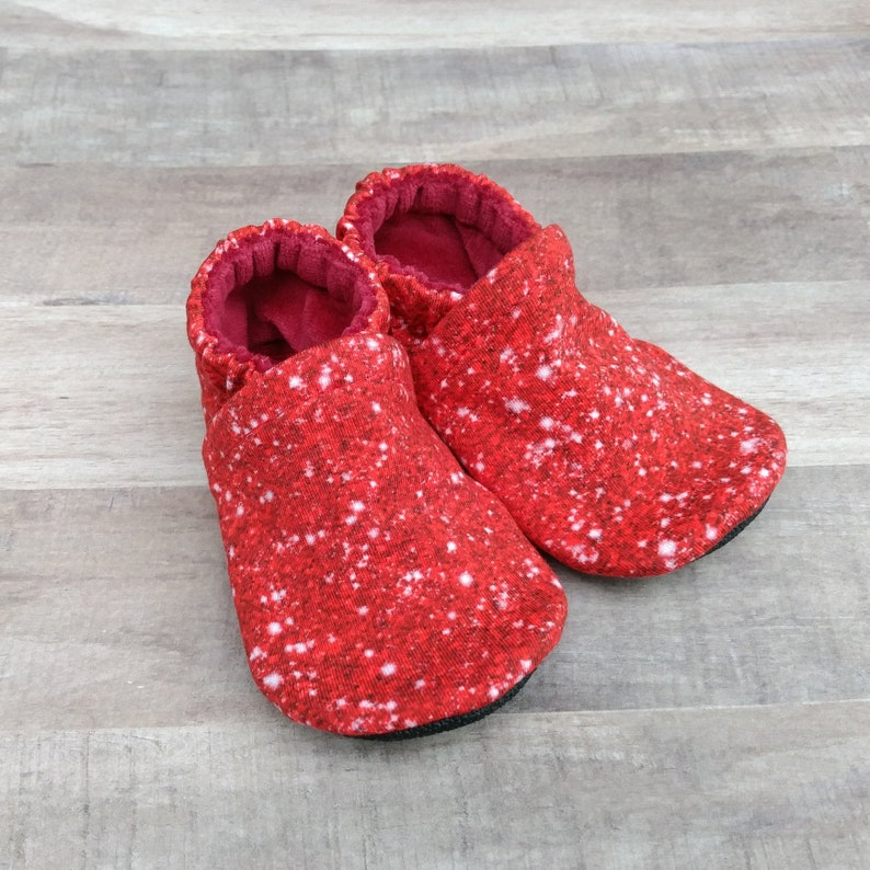 Faux Red Glitter: Handmade Soft Sole Shoes Cotton Knit Fabric image 0