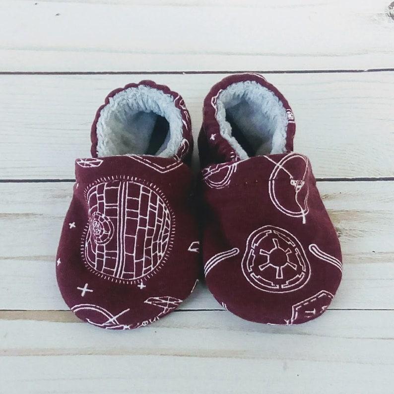 Star Wars Dark Side: Handmade Baby Shoes Soft Sole Cotton Knit image 0