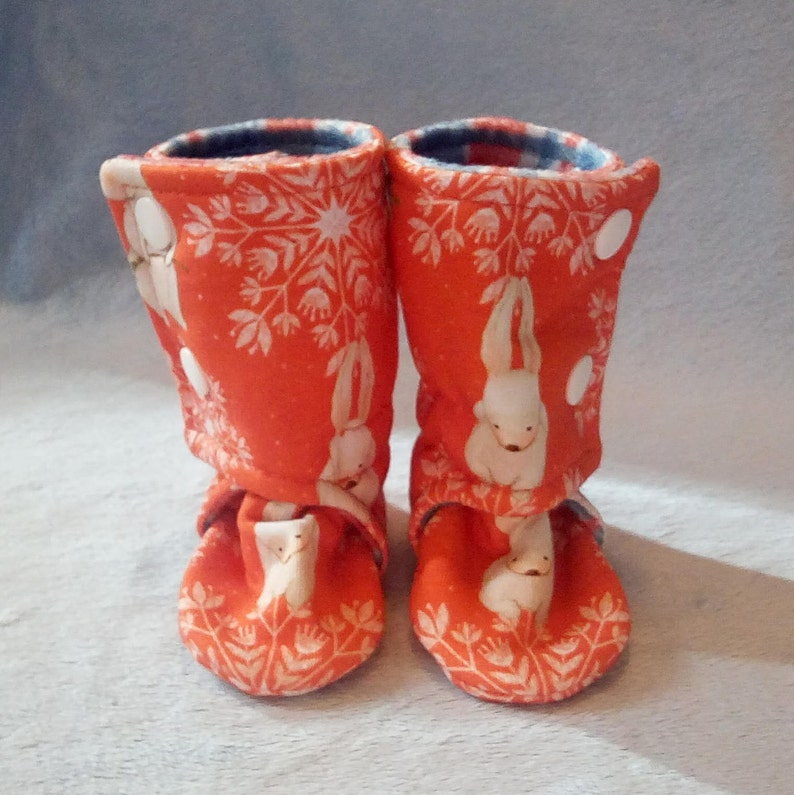 0-3M Snowflake Bunny: Handmade Baby Shoes Soft Sole Cotton image 0