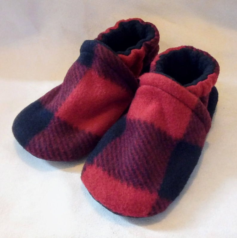 Red Buffalo Plaid: Handmade Baby Toddler Shoes Soft Fleece image 0