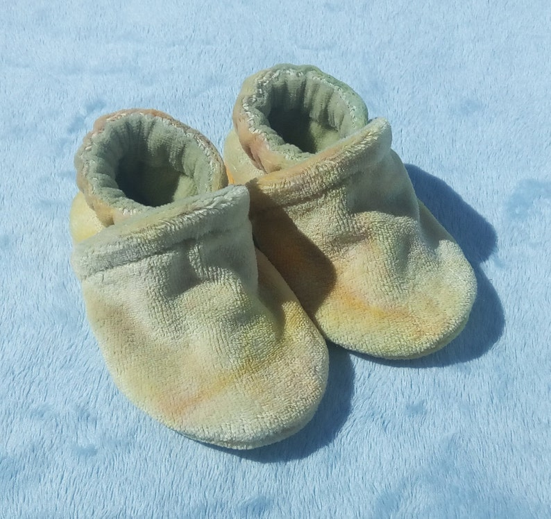 Pastels: Soft All Fabric Hand Dyed Bamboo Velour Baby Shoes image 0