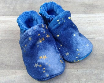Starry Night : Handmade Soft Sole Shoes Cotton Knit Fabric Non-Slip Booties Baby Toddler Child Adult