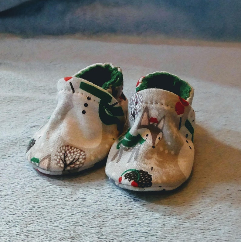 Woodland Snowman: Handmade Baby Shoes Soft Sole Cotton Knit image 0