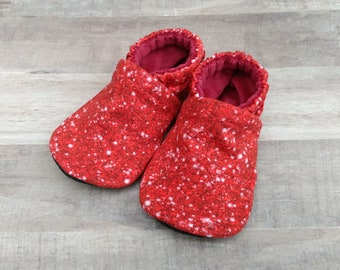 Faux Red Glitter : Handmade Soft Sole Shoes Cotton Knit Fabric Non-Slip Booties Baby Toddler Child Adult