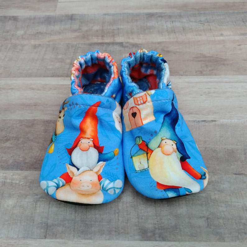 Gnomes: Handmade Baby Toddler Shoes Soft Sole Cotton Knit image 0