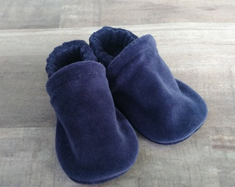 Navy Blue : Handmade Soft Sole Shoes Cotton Knit Fabric Non-Slip Booties Baby Toddler Child Adult