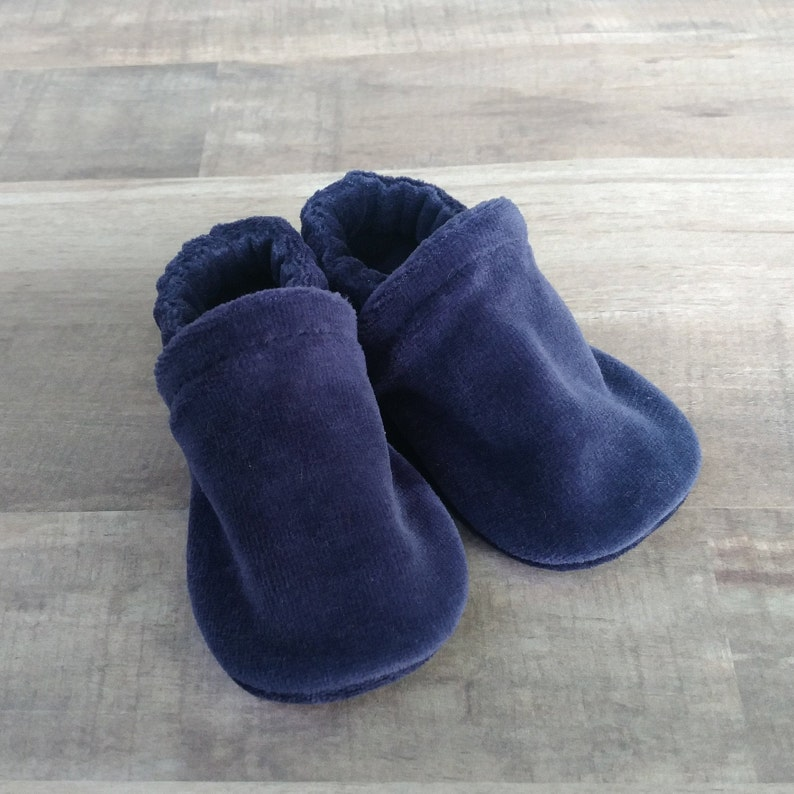 Navy Blue : Handmade Soft Sole Shoes Cotton Knit Fabric image 0