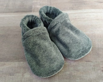 Charcoal Gray : Handmade Soft Sole Shoes Cotton Knit Fabric Non-Slip Booties Baby Toddler Child Adult