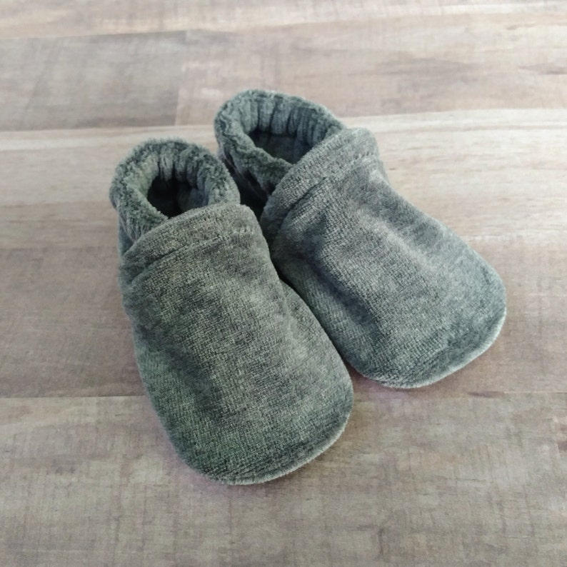 Charcoal Gray : Handmade Soft Sole Shoes Cotton Knit Fabric image 0