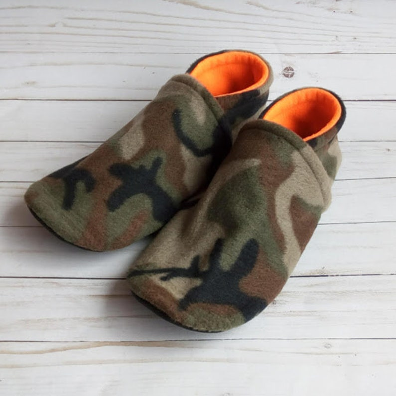 Adult Camo Camouflage  Slippers Non-Slip Fleece House Shoes image 0