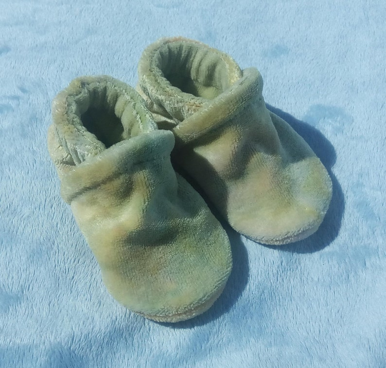 Spring: Soft All Fabric Hand Dyed Bamboo Velour Baby Shoes image 0