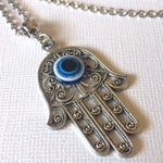 Hamsa and Evil Eye Necklace on Silver Rolo Chain - Mens Hamsa Jewelry - Bohemian Jewelry - Layering Necklace