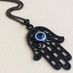 Black Hamsa and Evil Eye Necklace  on Thin Gunmetal Chain - Mens Hamsa Necklace - Layering Jewelry - Bohemian Hamsa Hand Pendant