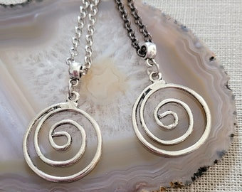Spiral Necklace, Your Choice of Gunmetal or Silver Rolo Chain, Mens Minimalist Jewelry