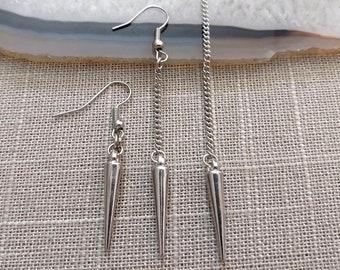 Silver Spike Earrings - Spike Earrings / Silver Earrings / Dangle Earrings / Long Earrings / Chain Earrings / Bohemian Jewelry